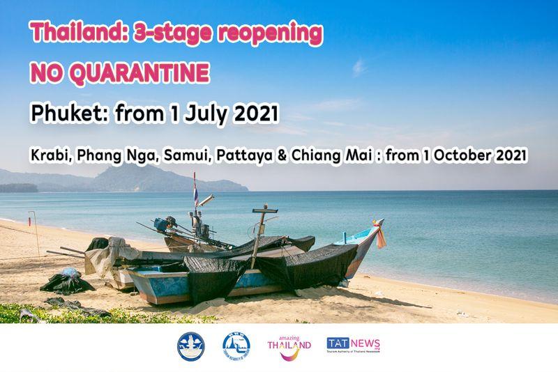 泰國觀光局宣布開放3階段內容,歡迎已完整接種疫苗的遊客到泰國旅遊